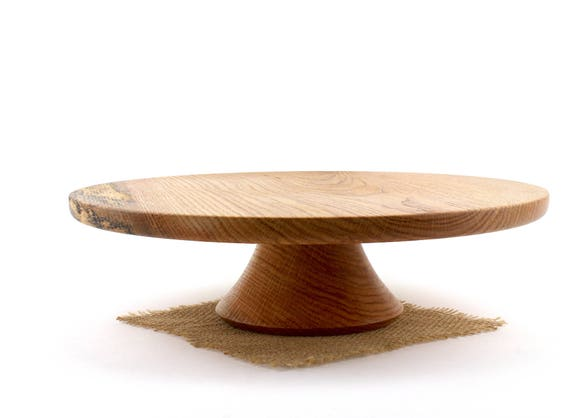 """14 7/8"""" Wooden Red Oak Cake Stand, Wooden Wedding CakeStand,  Pedestal Cake Plate ,Cupcake Stand"""