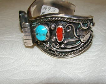 NA 3-D Sterling, Turquoise & Coral NA Watch Bracelet