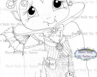 INSTANT DOWNLOAD Digital Digi Stamps Big Eye Big Head Dolls Digi  Steampunk Dracula Img741 By Sherri Baldy