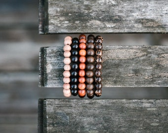 Natural Wood Beaded Bracelet - Free US Shipping
