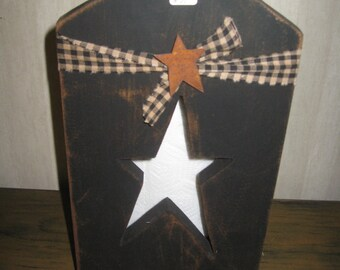 Standing paper towel holder w/star cutout