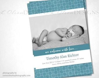 Open Dots Birth Announcement - Teal - DIY Printable