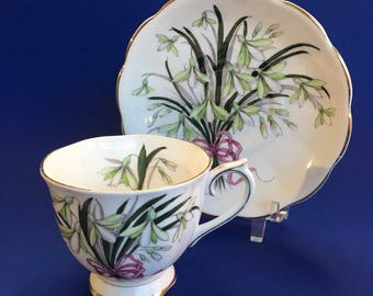 Royal Albert Snowdrop Flower of the Month Bone China Tea Cup and Saucer England