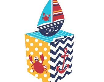 48 Nautical Favor Boxes ~ Shower ~ Ahoy Baby! ~ Boats~  Great Value!