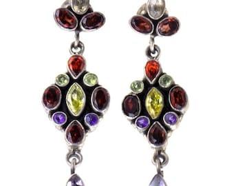 40% Sale -- 925 Sterling Silver, Garnet Earrings, 1 Pc