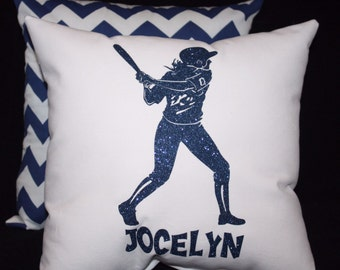 Personalized non flaking glitter SOFTBALL PLAYER / BATTER  Pillow personalized with players name or team name