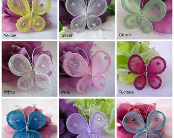 """2"""" Butterfly Green, Pink, Yellow, White, Turquoise, Blue, Lavender, Fuchsia, Silver for Baby Showers, Wedding, Party Favors, 12 pieces"""