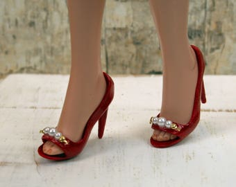 Ellowyne Red Heels with Pearls