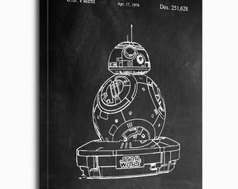 Star Wars Canvas Print, Yoda Patent, Yoda Vintage Art, Yoda Blueprint, Yoda Print, PatentPrints, Wall Art, Décor [SW55C]
