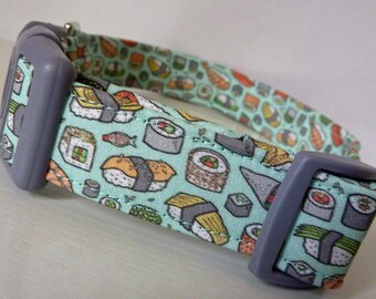 "Sushi - Sashimi Dog Collar - Cute Summer Dog Collar - Sushi on Mint- Boy/Girl Dog Collar -  ""Sushi"" - Free Colored Buckles"