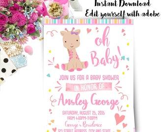Giraffe Baby Shower Invitation, Giraffe Invitation, Giraffe, Baby Shower, Invitation, Invite, Instant Download