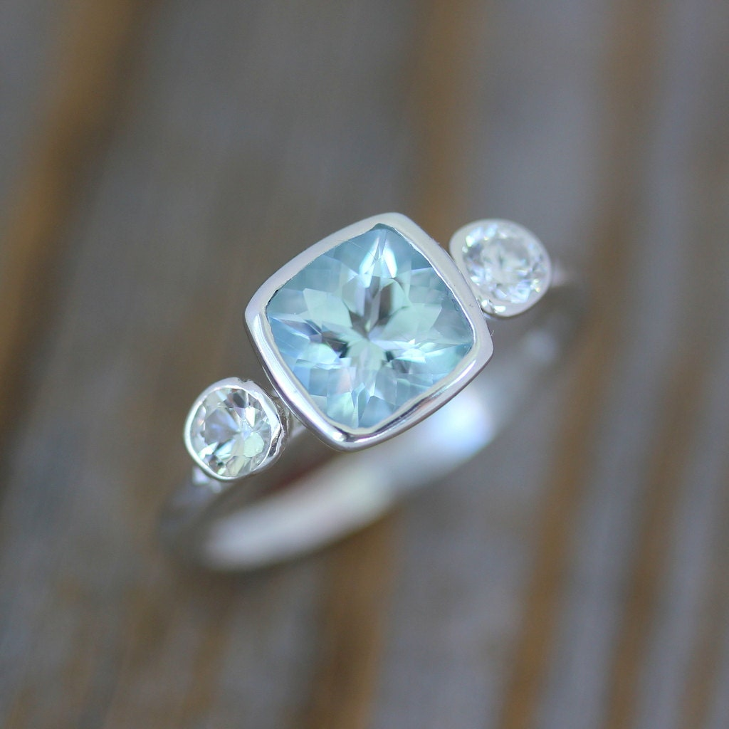 of sterling sapphire halo white in silver stud earrings created and earring aquamarine picture