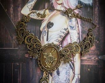 Bib necklace cameo woman Alice in Wonderland rabbit Blanc♠ ♠Le countries