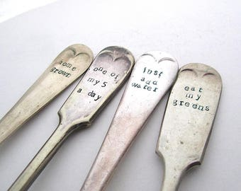 MADE TO ORDER Ecocycled Plant Labels, Funny Gardening Gift, Humorous Plant Markers, Rustic Garden Labels, Reclaimed Forks