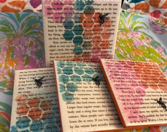 Tracker Jackers   Hunger Games Upcycled Book Page Coasters