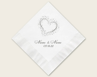 Personalized Beverage Napkins Wedding, 100 White Cocktail Napkins For Wedding, Paper Napkins Personalized, Heart Design With Names And Date