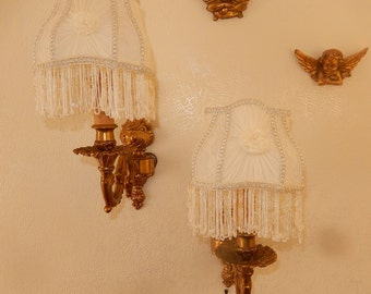 pair solid bronze wall sconces crafted Lampshade draped silk lace fringe beads