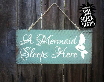 mermaid decor, mermaid sign, mermaid decoration, mermaid gift, mermaid nursery decor, mermaid wall decor, a mermaid sleeps here, 76/127