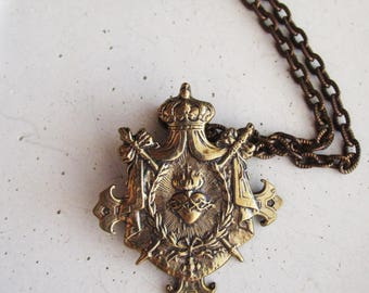 Solid Bronze Sacred Heart Necklace