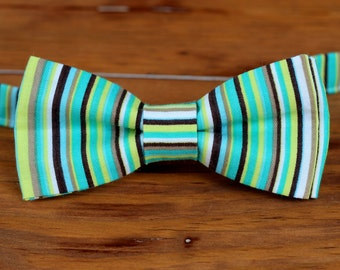 Boys Bow Tie - Colorful green, brown, and blue pin striped cotton bow tie for infant, toddler, child, pre-tied and adjustable bowtie