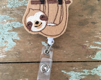 Sloth ID badge reel holder retractable clip