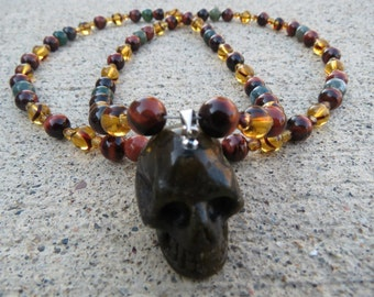 Crystal Skull / Charged Labradorite Necklace