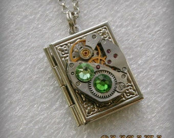 Steampunk Book  pendant /  locket /  necklace with  Swarovski crystals , Steampunk jewelry , Clockwork Book Pendant