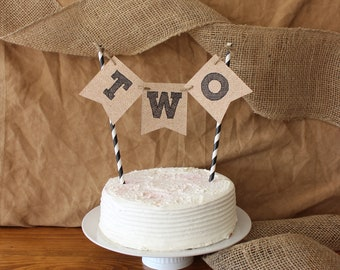 Rustic Natural Hessian Look Cake Bunting 1st 2nd Birthday Boy Girl Custom Made Personalized Number