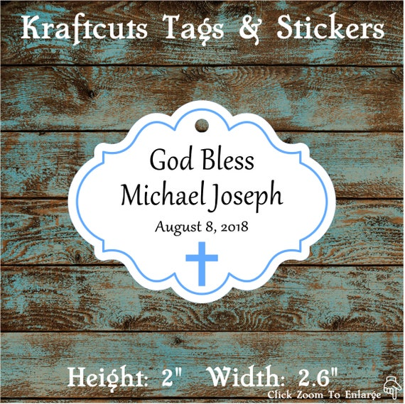 Personalized Favor or Gift Tags - God Bless Baptism Tags with Blue Border #780 - Quantity: 30 Tags