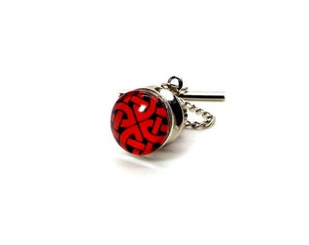 Red and Black Celtic Knot Tie Tac, Red and Black Tie Tac