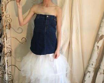 Formal Denim top dress with separate white tulle skirt