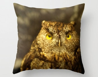 Owl Pillow Cover Natural History Print Owl Woodland Forest Creature Brown Owl