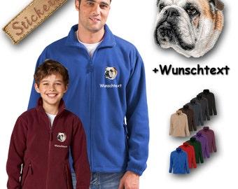 Cosy fleece jacket jacket embroidery embroidered dog ENGLISH BULLDOG + Own Words