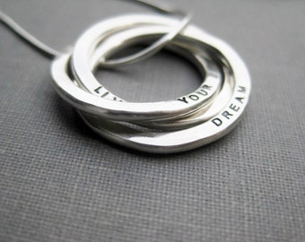 Triple Ring Necklace - Sterling Russian Ring Necklace, Personalized, Stamped