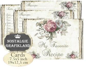 Recipe Cards Vintage printable Kitchen Paper Organization Cookbook 7.5 x 5 inch Instant Download digital collage sheet J107