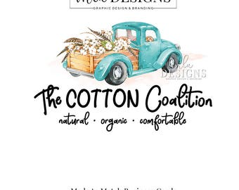 Blue Truck Logo, Vintage Truck Logo, Cotton Logo, Truck Premade Logo, Farm Logo, Watercolor Logo, Premade Cotton Logo, Custom Logo, Boutique