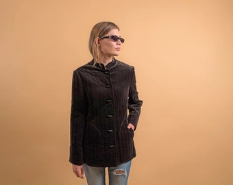 Quilted Velvet Jacket / 80s Asian Quilted Jacket / Vintage 70s Jacket Δ fits sizes: S/M