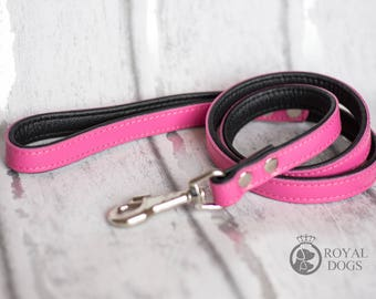 Personalized Leather Pink Dog Lead | Soft Leather Dog Lead | Pink & Black Dog Leash | Hand Painted Dog Lead |