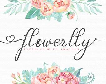 Calligraphy Font, Wedding Digital font - modern elegant typeface download - Calligraphy Digital Font Flowerlly