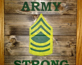 Army Strong Wood Sign