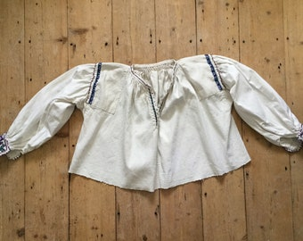 1930s Linen Floral Embroidered Romanian Blouse XS S Vintage Folk Eastern European