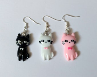 Dapper Cat Earrings - Kawaii Jewelry Kawaii Earrings Fairy Kei Jewelry Decora Kei Pop Kei Decora Jewelry Cat Jewelry Cat Earrings Gyaru