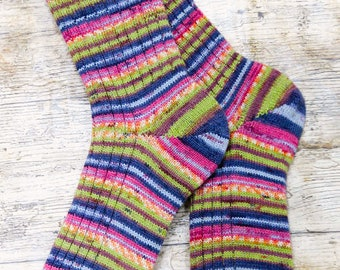 Colourful Woodland Unisex Casual Socks - Fair Isle Mid Calf Merino Winter Socks - Rugged Nordic Heritage Dress Socks - Country Style Socks
