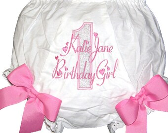 Birthday 1st, 2nd, 3rd Baby Girl  Bloomers, Diaper Cover, Panties