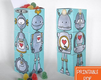 Robot Party Favor Boxes, Robot Birthday Party Printables, INSTANT Download, Printable Robot Theme PDF, Boy Party Favor, Printable Favor Box