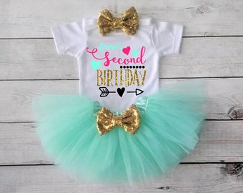 2nd birthday girl outfit Second birthday outfit Mint and Gold outfit Gold Bow Personalized Birthday Girl Outfit Second Birthday Outfit