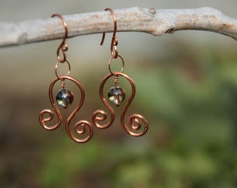 Copper Swirl Earrings, Copper Earrings, Swirl Earrings