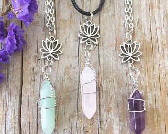 Lotus Necklace/ Crystal Necklace/ Lotus Flower Necklace / Lotus Wrapped Crystal Necklace/ Crystal Necklace/ Healing Crystal/ Meditation N2