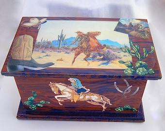 Decoupaged Cowboy Box, trinket box, keepsake box, memory, child keepsake, boy room decor, home accent, storage box, western, gift for boy