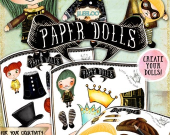 PAPER DOLLS digital altered art - Digital collage sheet  for journal page scrapbooking diary art - instant download printable - pp340